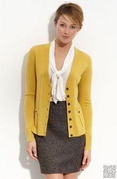 Mustard Cardigan, white blouse