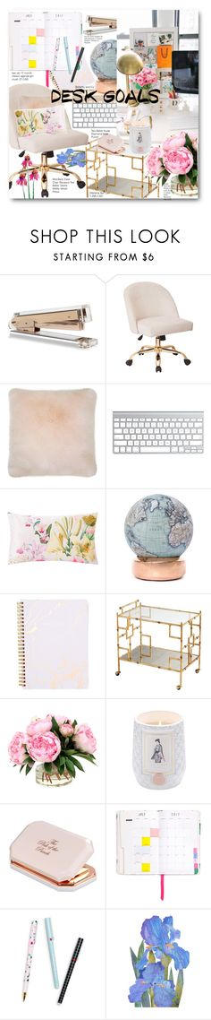 """Pastel Work Desk Decor"" by voguefashion101 ❤ liked on Polyvore featuring interior, interiors, interior design, home, home decor, interior decorating, Ted Baker, Bellerby & Co and ban.do"