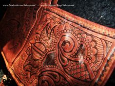 Wilson's leather crossbody bag with pyrographed henna by Behennaed, $60.00