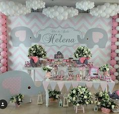 55 Trendy Ideas for baby shower girl elephant decorations grey Fiesta Baby Shower, Baby Shower Fun, Shower Party, Baby Shower Parties, Baby Shower Themes, Baby Boy Shower, Shower Ideas, Baby Girl Elephant, Elephant Party