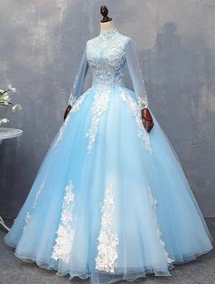 Blue tulle high neck beaded long formal prom dress, lace prom gowns with sleeves Prom Gown With Sleeves, Lace Prom Gown, Long Sleeve Evening Dresses, Dress Lace, Prom Gowns, Tulle Lace, Dress Prom, Pageant Dresses, Quinceanera Dresses