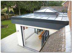 orangery with skylight and bifolding doors Orangerie Extension, Extension Veranda, Conservatory Extension, House Extension Design, Glass Extension, Roof Extension, Extension Ideas, Orangery Extension Kitchen, Flat Roof Design