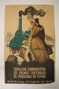 CARTEL EXPOSICIÓN CENTENARIO FERROCARRIL 1948