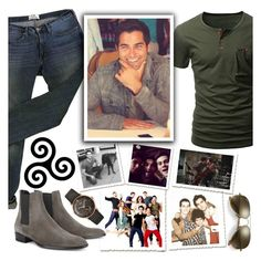 """Teen Wolf Derek Hale"" by chey-love ❤ liked on Polyvore featuring Acne Studios, Longines, Yves Saint Laurent, Ray-Ban, men's fashion and menswear"