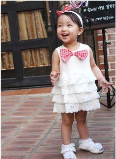 正版韓國 嬰兒蝴蝶結布蕾絲蛋糕洋裝+紅色蝴蝶結髮帶+小褲褲