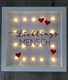 """illuminated picture frame """"Lieblingsmensch"""", LED frame, wall decor by JonapWohnmanufaktur on Etsy - Do it Yourself """"Diy"""" Diy Gifts For Friends, Diy Gifts For Boyfriend, Frame Wall Decor, Frames On Wall, Led, Frame Stand, Easy Diy Gifts, E Design, Picture Frames"""