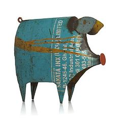 Recycled Metal Pig - crate & barrel