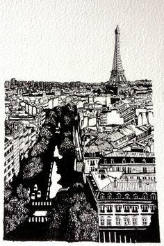 Black, Paris Roof Tops ~ Pen Roof Tops, Paris Illustration, Ink Pen Drawings, Favorite Color, Watercolor Paintings, Louvre, Colour, Black And White, Travel