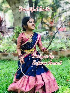 Dresses Kids Girl, Kids Outfits, Baby Dresses, Lehenga Designs, Saree Blouse Designs, Beautiful Smile, Beautiful Children, Kids Dress Patterns, Kids Lehenga