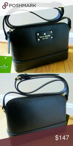 """Kate Spade Black Leather Wellesley Hanna Bag Kate Spade Black Leather Wellesley Hanna Crossbody Bag Messenger Purse NWT 100% Authentic. New with tag!  Black pebbled leather Black strap and trim 14-karat light gold plated hardware Front logo license plate Fully lined in black KSNY signature fabric Interior slip pocket 17""""-23"""" adjustable strap 8.5""""W x 6.5""""H x 3""""D kate spade Bags Shoulder Bags"""