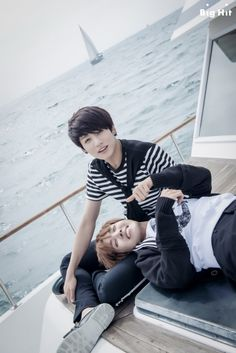 "[BTS in America: Marine Boys of America] - JUNGKOOK & J-HOPE Date: August 10th 2014 Location: Marina del Rey, LA ""However, we felt the best! The 'flat' youngest member of BTS also acted charmingly today. It can't easily be seen every day~"""