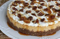 Pumpkin Cheesecake with Pecan-Gingersnap Crust | Our Best Bites. Really really yum. Vitamix made a very fine crust. Food processor made a very rough crust. Must try crumbing cookies with rolling pin first and then pulsing with pecans. So so so yum.