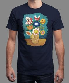 """""""Mario Van Gogh's Flowers"""" is today's £9/€11/$12 tee for 24 hours only on www.Qwertee.com Pin this for a chance to win a FREE TEE this weekend. Follow us on pinterest.com/qwertee for a second! Thanks:)"""