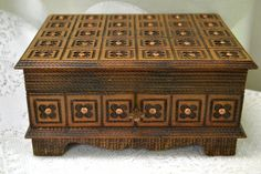 "Handcrafted Ukrainian Wooden Keepsake / Storage Box with Copper Filigree Design - Key Included - 7.5"" W x 6"" D x 4"" H"