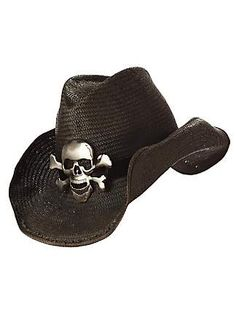 Black Cowboy Hat with Skull and Crossbone