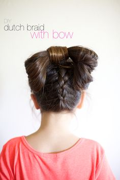 Ruffles and Stuff: Dutch Braid with Bow Hair Tutorial! Braided Hairstyles Updo, Protective Hairstyles, Wedding Hairstyles, Updo Hairstyle, Updos, Chignon Wedding, Bridal Updo, Back Braid, Two Strand Twists