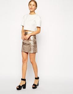 Gold ASOS Mini Skirt In Metallic Leather $120