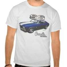 This 70 Chevelle shirt is sure to please the dad who loves Muscle cars. White shirt with an image of a blue with white stripes 1970 Chevy Chevelle topped off with a big SS. Available in several styles and all sizes up to 6 XL. #musclecargifts #cars