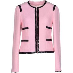 Edward Achour Blazer ($730) ❤ liked on Polyvore featuring outerwear, jackets, blazers, pink, long sleeve jacket, single breasted jacket, pink tweed jacket, tweed jacket and pink tweed blazer