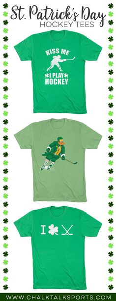 Are you ready for St. Not without some hockey gear, you're not! Celebrate in style this year and show off your hockey pride with our one of a kind St. St Patricks Day Quotes, Happy St Patricks Day, Hockey Shirts, Hockey Gear, Hockey Coach, T Shirt And Shorts, Custom Clothes, Quote Of The Day, Sleeves