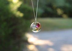 Real Rosebud Resin Pendant Necklace by GrainnesGoods on Etsy