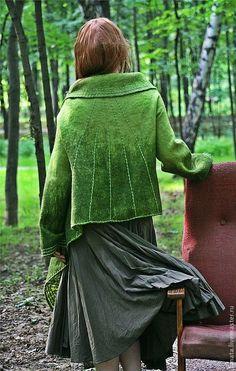 """Купить Валяное пальто """"...словно лист Иггдрассиль"""" - одежда из войлока, валяное пальто"""