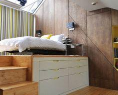 chambre sous comble avec lit plateforme