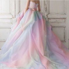 Pastel Coloured Wedding Gown