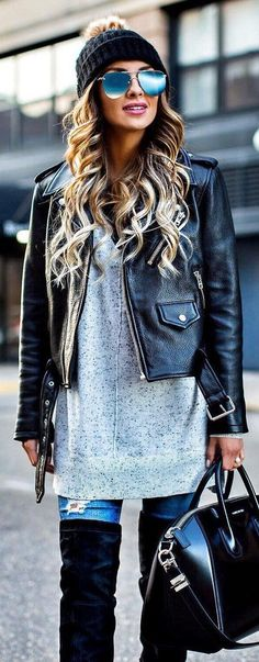 Black Beanie / Black Leather Jacket / Grey Knit Dress / Ripped Skinny Jeans / Black Leather Tote Bag / Black OTK Boots