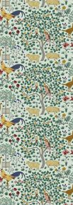 """{CFA Voysey c. 1929 via Trustworth}   """"In My Orchard"""" is a lovely last romantic idyll of rural English life even as it was vanishing on the eve of the Great Depression. Voysey is still seeing with the eyes of his preferred childhood and ready to vanish into that looking glass world. In shades of mottled greens, creams, browns, blue and red this optimisticly youthful pattern will brighten up any room."""