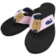 d9e1163160a9 Pink Seersucker Fabric Sandal with Navy Embroidered Whale   Navy Toe Ribbon