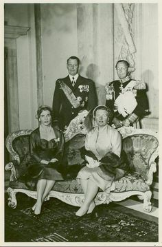 """"""" King Frederik IX and Queen Ingrid of Denmark with Queen Juliana and Prince Bernhard of the Netherlands """""""