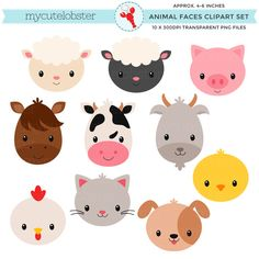 Farm Animal Faces Clipart Set - animal faces, farmyard, farm, cow, chicken, goat, cat - personal use, small commercial use, instant download par mycutelobsterdesigns sur Etsy https://www.etsy.com/be-fr/listing/258316486/farm-animal-faces-clipart-set-animal