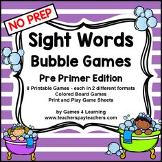 Dolch Sight Words Pre Primer List Games for. by Games 4 Learning Second Grade Sight Words, Pre Primer Sight Words, Sight Words List, First Grade Sight Words, Dolch Sight Words, Phonics Words, Sight Word Practice, Sight Word Games, Third Grade