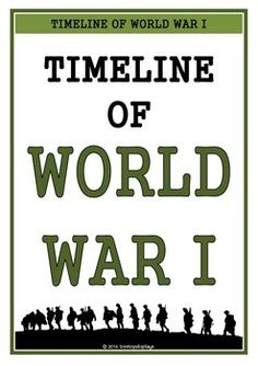 A set of 26 printables showing a timeline of World War 1/ WWI. Pages show the key events that took place during the time. Visual and informative, this set will prove to be an excellent aid for students learning about this topic! Visit our TpT store for more information and for other classroom display resources by clicking on the provided links.
