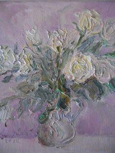 Białe Róże - olej na płótnie
