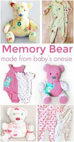 Memory Bear, Bear Sleeper Keepsake, Onesie Stuffed Animal ,Teddy Keepsake, Baby Onesie Plush, Teddy Onesie, Memory Stuffed Bear from onesie affiliate