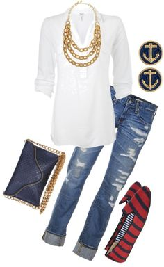 Not crazy about ripped look jeans, but otherwise love this combo