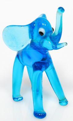 shopgoodwill.com: Electric Blue Art Glass Elephant Figurine DECOR