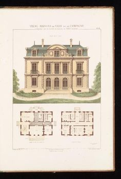 Added engraved t p - architecture Architectural House Plans, Architectural Prints, Classic Architecture, Architecture Details, Vintage House Plans, Tiny House Cabin, Marquise, Sims House, French Country House