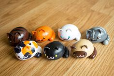 Kawaii Chibi Kitties - Polymer Clay Figure (Made to Order). Clay cats. simple shapes. minimalist.