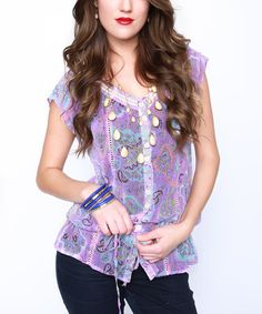 This Purple Sheer Paisley Button-Up Top is perfect! #zulilyfinds