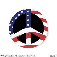 US Flag Peace Sign Sticker
