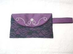 Purple satin and black lace hand embroidered evening bag with seed pearls. The bag measures approximately 6 inches x 10 inches and has an internal pocket and a magnetic clasp. I have added a wrist strap to make it easy to carry. Gift Wrapping Services, Purple Satin, Evening Bags, Clutch Bag, Cats, How To Make, Color, Gatos, Colour