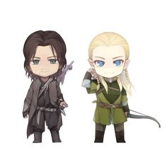 Legolas and Aragorn<------Leggy is already pulling an arrow out to shoot that little tiny orc in the distance...