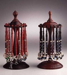 What beautiful bobbin display holders. these remind me of pipe stands Traditional Cushions, Bobbin Lacemaking, Bobbin Lace Patterns, Lace Heart, Lace Jewelry, Tatting Lace, Needle Lace, Lace Doilies, Lace Making