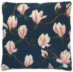 Magnolia on Blue Herb Pillow Tapestry