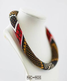 Black red white brown statement necklace Bead crochet rope