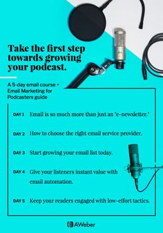 Grow Your Podcast - Here is a 5-Day System to grow your Podcast designed by Aweber.