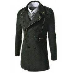 b4078886548 Fashionable Turn-down Collar Multi-Zipper Design Solid Color Long Sleeves  Men s Coat